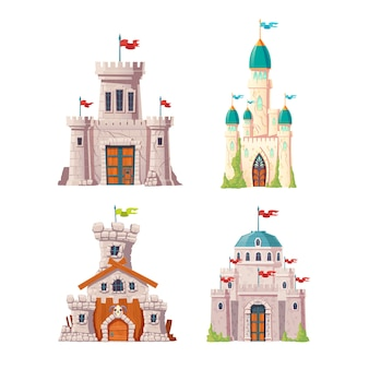 Abandoned fairytale castles cartoon vector set