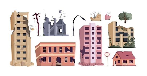 버려진 집, 오래된 부동산, 손상된 아파트. 주거 파괴, 흰색 배경에 고립 된 가난하고 빈곤 조건 벡터 일러스트 레이 션에 금이 주거 빈곤