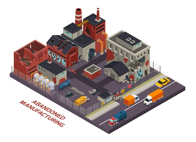 Abandoned manufacturing isometric composition