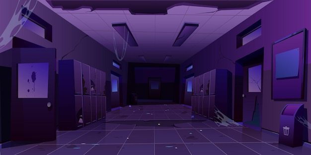 Corridoio notturno interno del corridoio abbandonato della scuola
