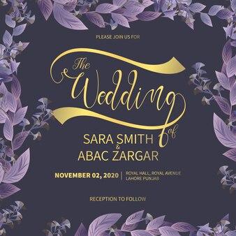 Abastract рисованной цветочные свадебные приглашения