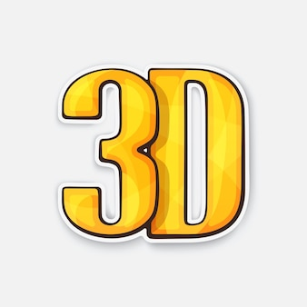 Abbreviation 3d for threedimensional film icon for stereo movies vector illustration