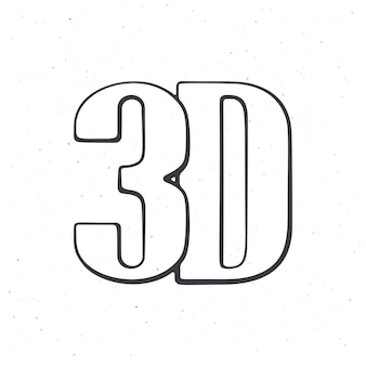 Abbreviation 3d for threedimensional film outline lettering style icon for stereo movies vector