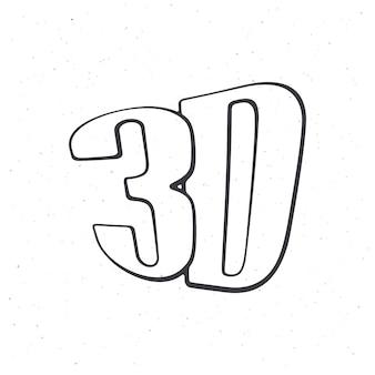 Abbreviation for threedimensional film 3d outline vector illustration hand drawn sketch