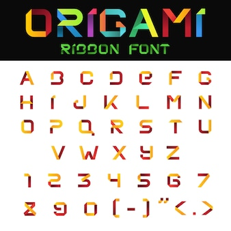 Abcアルファベット折り紙紙リボンフォント。文字と数字。
