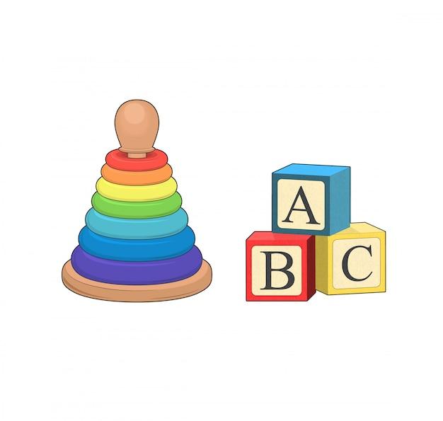Abc блоки. игрушечные кубики с буквами алфавита. детская игрушечная пирамида, логическая игра. малыш играет в разработку. стек игровое обучение. изолированная графическая иллюстрация.