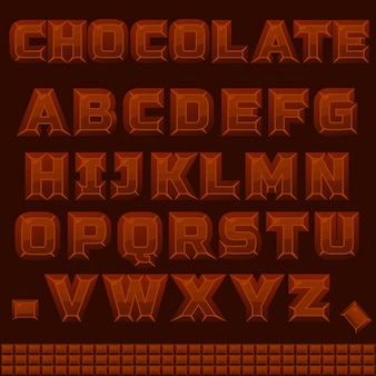 Abc chocolate alphabet in vector