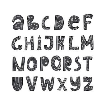 Abc 귀여운 크리스마스 알파벳입니다. 어린이를 위한 손 그리기 글꼴입니다. 플랫 격리 벡터 일러스트 레이 션.