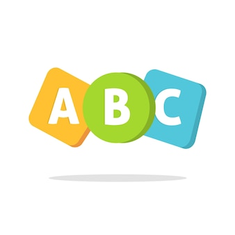 Abc english letters logo or learning school courses icon for kids child language classe flat cartoon