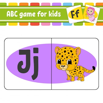 Abc 플래시 카드. 아이들을위한 알파벳입니다. 학습 편지.