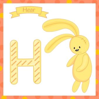 Симпатичные дети abc животных зоопарка алфавит h буква заяц