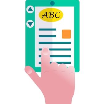 Abc language learning ereading flat vector icon