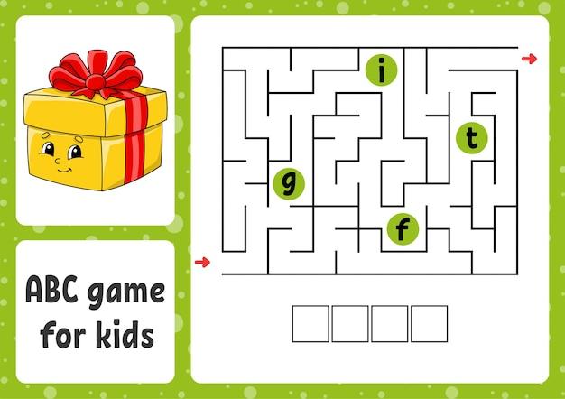 Abc maze for kids illustration