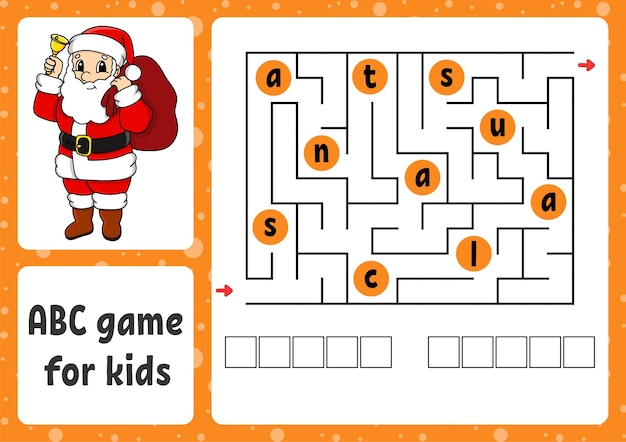 Abc maze for kids illustration
