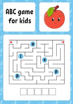 Abc maze for kids rectangle labyrinth