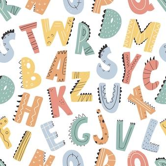 Abc seamless pattern in simple cartoon stylecute alphabet print  hand drawn childish spattern