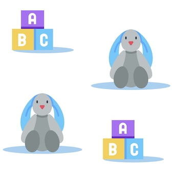 Abc wooden blocks and toy hare seamless pattern