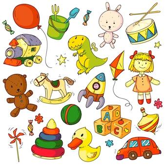 おもちゃのいたずら書き。面白い子供のおもちゃオブジェクトスケッチ標識セット。かわいいバニー、クマの動物、バルーン、アヒル、車、ロケット、馬、ボール、人形、abcキューブゲーム落書き赤ちゃんのためのコレクション要素