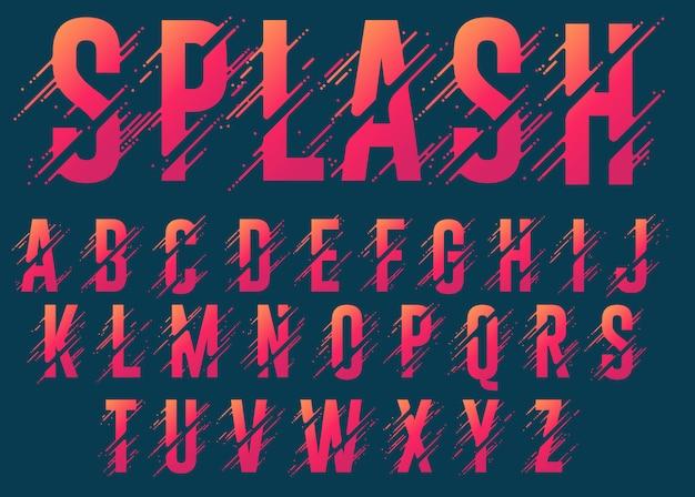 アルファベット文字、様式化されたカラフルなabc、液体インクフォント。