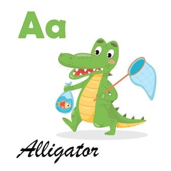 Английский алфавит с животными для детей. аллигатор abc на белом фоне изолированной