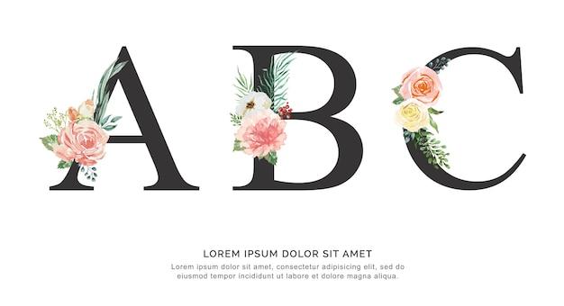 アルファベットabcの花のフォントは、紙の花や葉の水彩画で作られています。