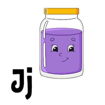 Забавный алфавит abc флэш-карты. милый персонаж мультфильма, изолированные на белом фоне.