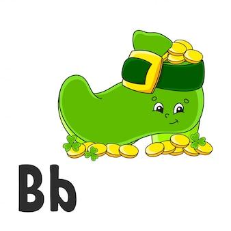 Алфавит буква в. лепрекон сапог с монетами. abc флэш-карты. милый мультипликационный персонаж на белом