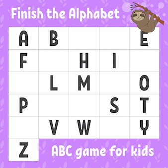 アルファベットを完成させます。子供向けのabcゲーム。教育開発ワークシート。茶色のナマケモノ。