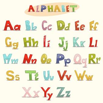 子供のためのabcアルファベット。手描き文字。