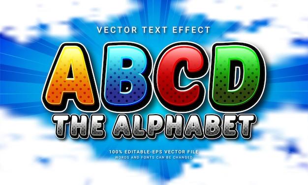 Abcdアルファベット編集可能なテキストスタイル効果をテーマにした教育学校