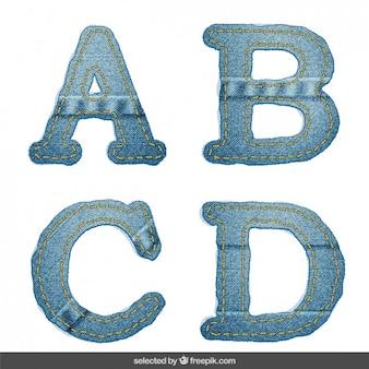 デニムアルファベットabcd