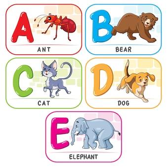 動物のアルファベットabcde