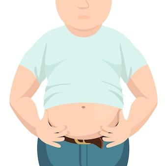 腹部脂肪、太りすぎの男性、大きなお腹。