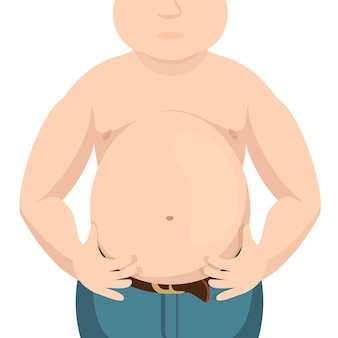 Abdomen fat, overweight man with a big belly.