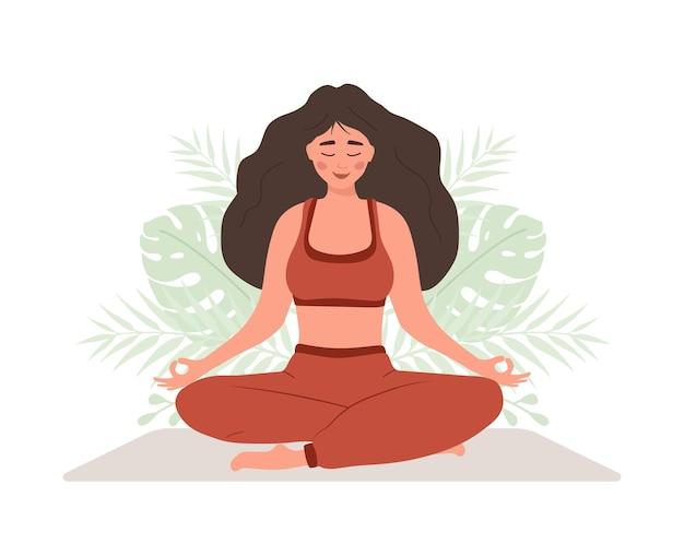 Брюшное дыхание. женщина практикует дыхание животом для хорошего расслабления.