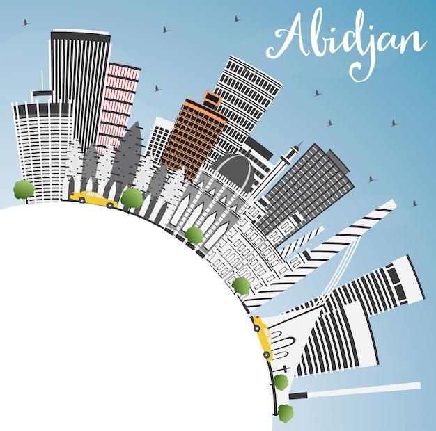 灰色の建物、青い空、コピースペースのあるアビジャンのスカイライン。ベクトルイラスト。近代建築とビジネス旅行と観光の概念。プレゼンテーションバナープラカードとwebサイトの画像。