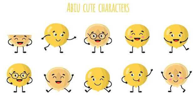 Abiu fruit cute funny cheerful characters with different poses and emotions. natural vitamin antioxidant detox food collection.   cartoon isolated illustration.