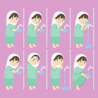 Ablution, wudhu steps for children vector collection
