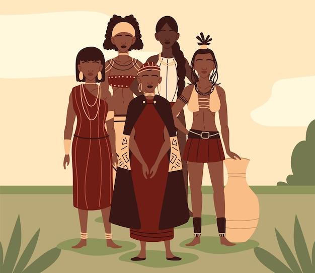 민족 옷을 입은 원주민 여성