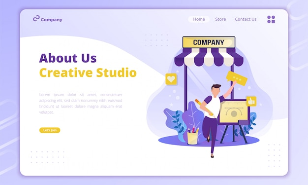 About company profile's illustration for business creative concept on landing page