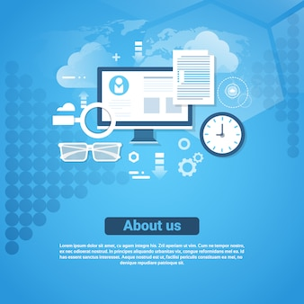 About us contact information template web banner with copy space