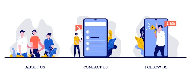 About us, contact us, follow us concept with tiny character and icons