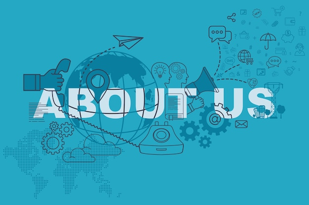 About us website banner concept with thin line flat design