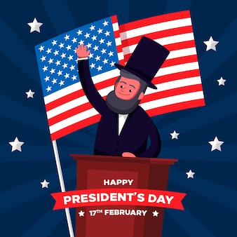 Abraham lincoln character flat design