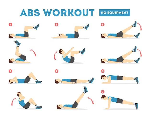 남성용 abs 운동. 완벽한 몸매를위한 운동