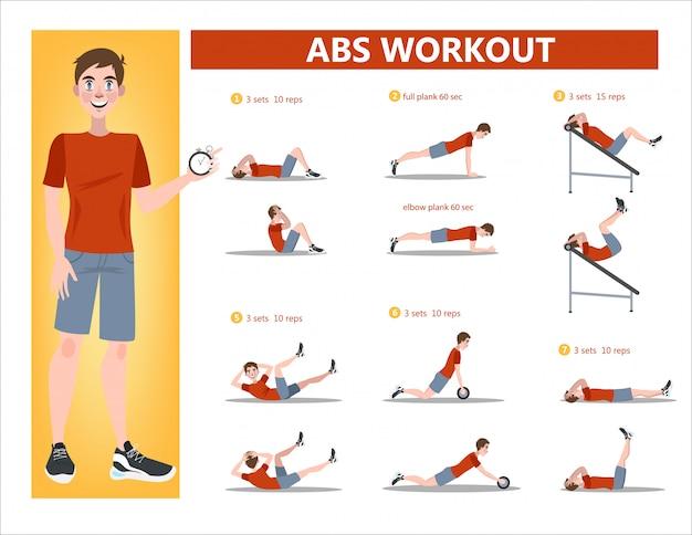 남성을위한 abs 운동.