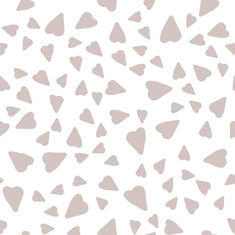 Absctract nordic trandy pattern with hearts in modern scandinavian style in vector doodle style