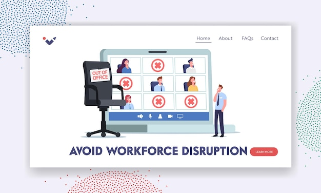 Absence work management landing page template. tiny company boss character stand at huge laptop with employees out of office. sick leave or vacation absence concept. cartoon people vector illustration