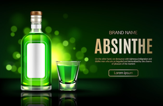 Absinthe bottle and shot glass banner