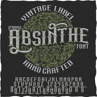 Absinthe hand crafted poster to use in any vintage style labels of alcohol